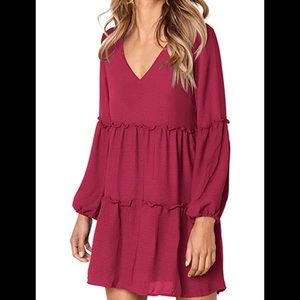 Women's Tunic V Neck Ruffle Loose Dress 🆕